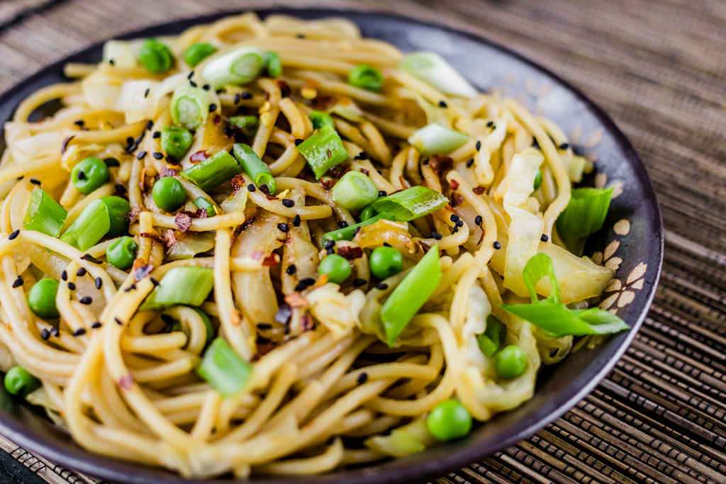 Gluten-Free Fried Noodles with Chili Garlic Sauce