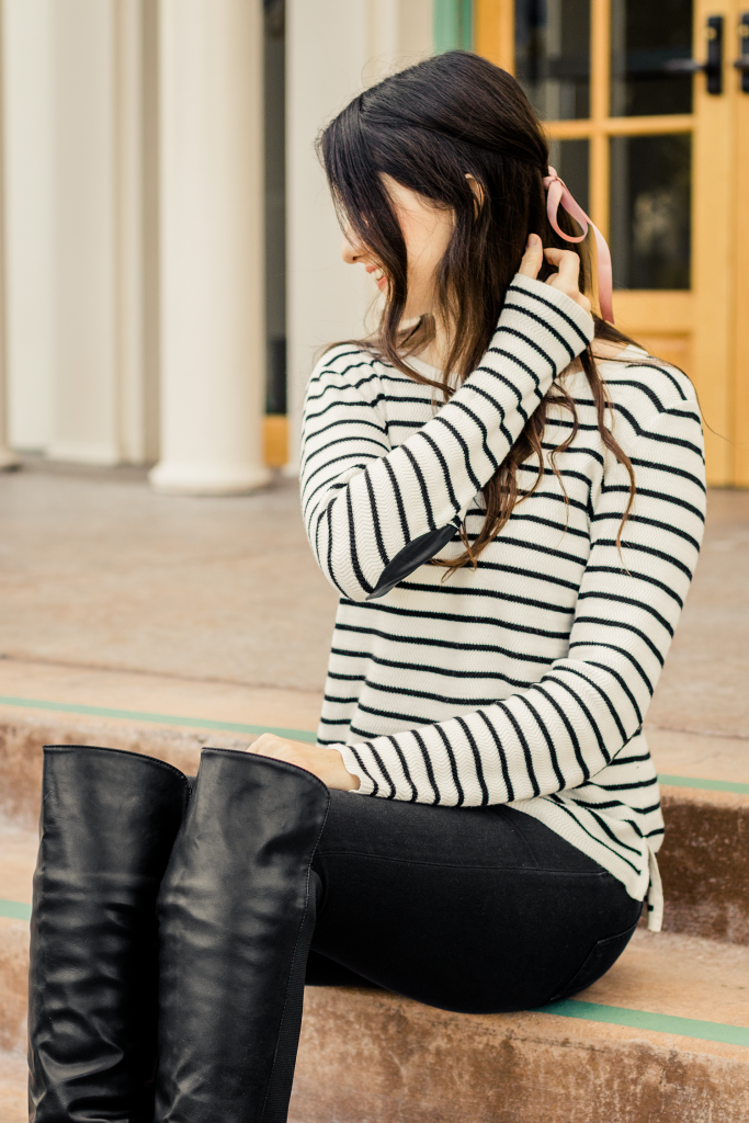 Striped elbow patch sweater and over-the-knee boots
