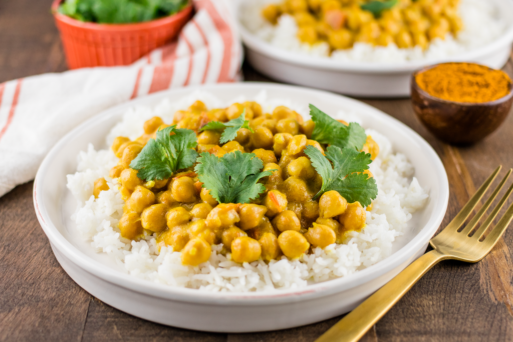 Vegan Curried Chickpeas with Basmati Rice