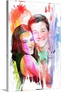 Pop Art Painting of Young Couple