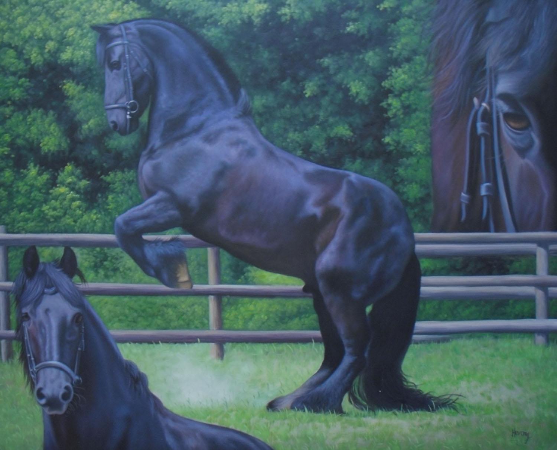 Foto von einem Pferd in Öl