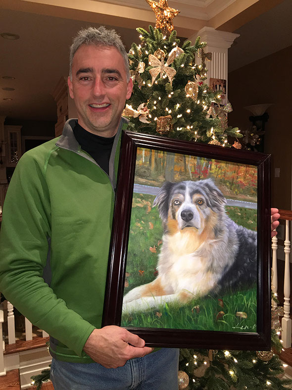 We lost our dog, Gunnar, suddenly just 2 weeks before Christmas.  Looking at other pet portraits on the website we selected the artist (which is a wonderful feature) and paid a little extra for