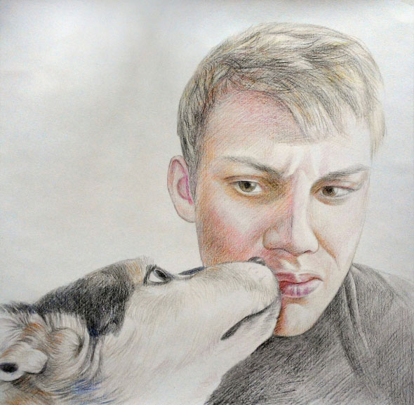 man and dog portrait in color pencil