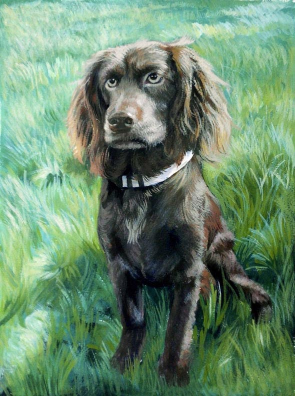 pastel painting of a dog
