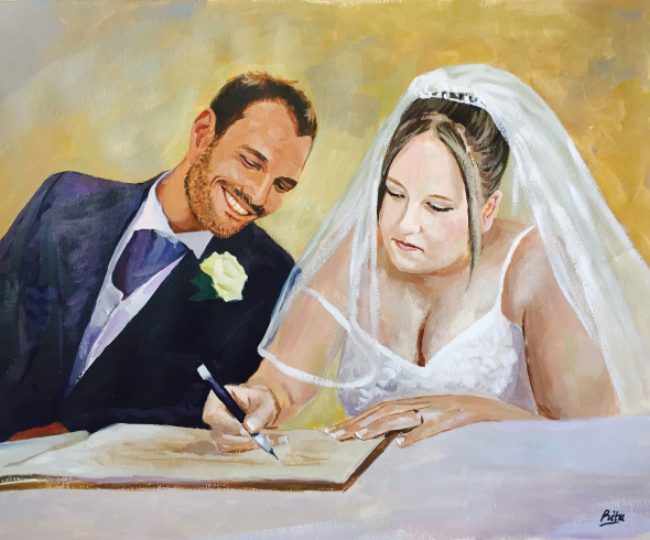 pastel wedding portrait