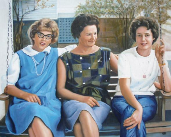 oil portrait of 3 ladies
