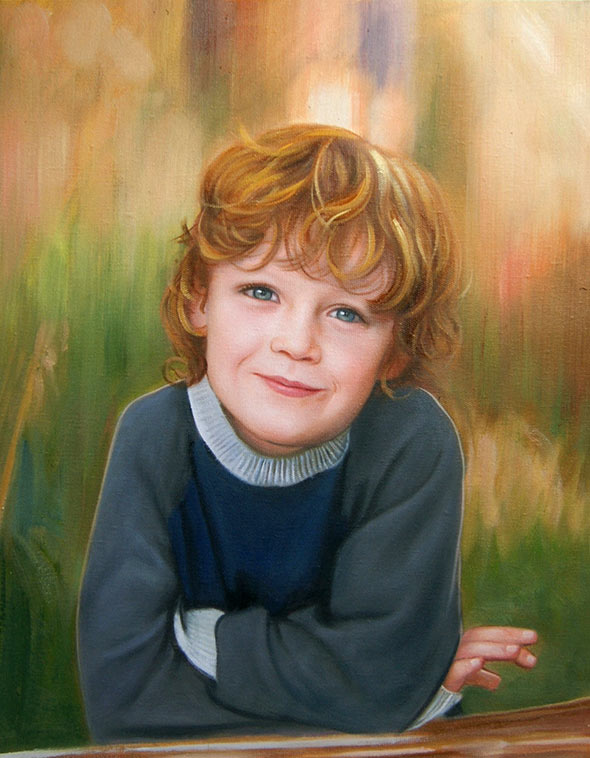 oil portrait of a red-hair boy