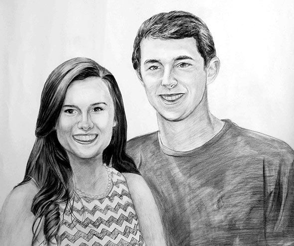 pencil portrait of a smiling couple