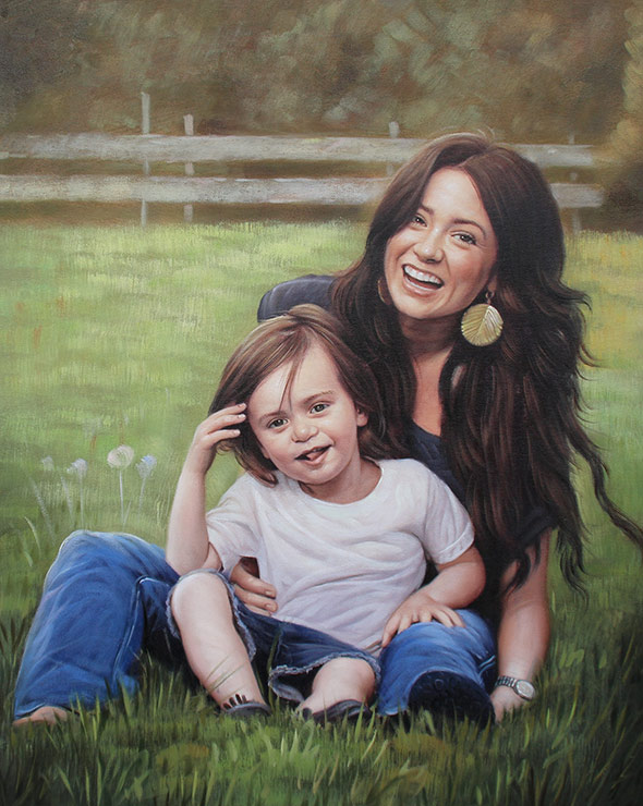 mother and child acrylic painting