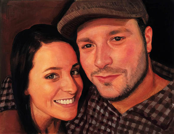 pastel portrait of a couple