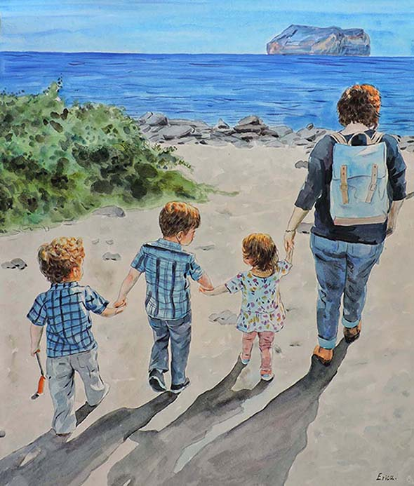 watercolor portrait of a family in the beach