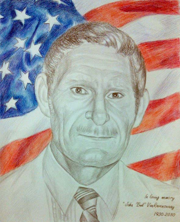 memorial portrait in color pencil