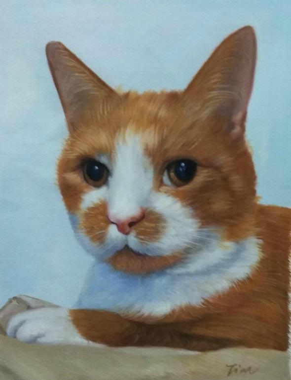 cat painting in oil