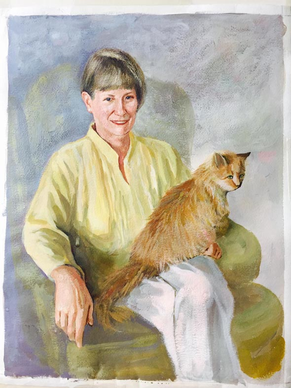 woman and cat pastel portrait