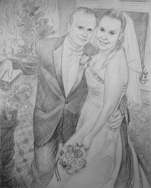 Coming up to my one year wedding anniversary I wanted to give my wife a paper based anniversary present. I decided I wanted my wife's favourite wedding photo to be reproduced as a drawing. I researched, and studied several