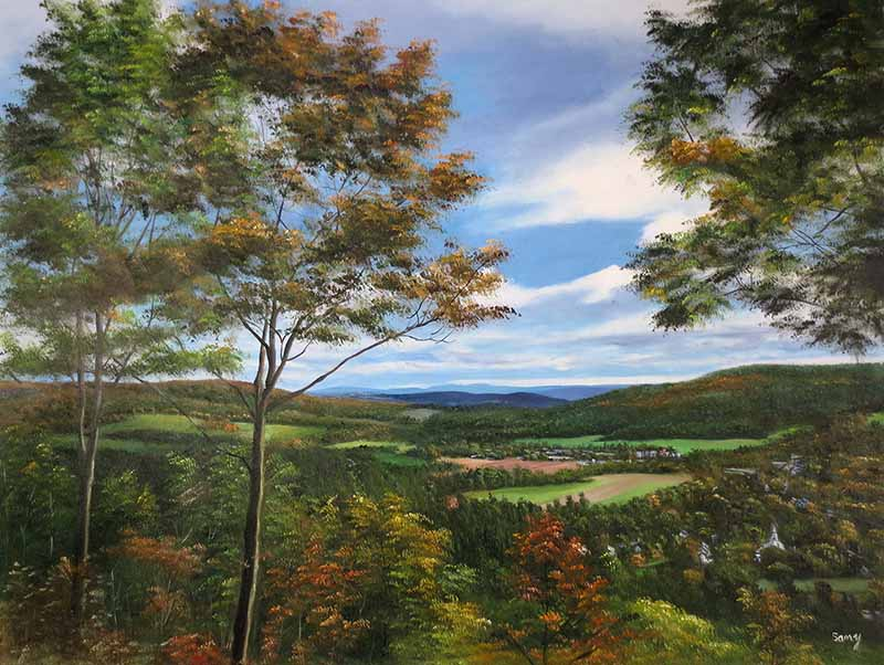 oil painting of forest tree field mountain blue sky