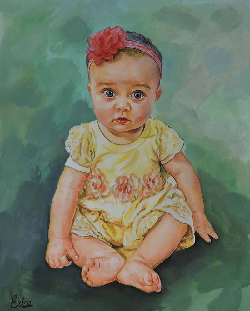 cute painting of a baby with a headband