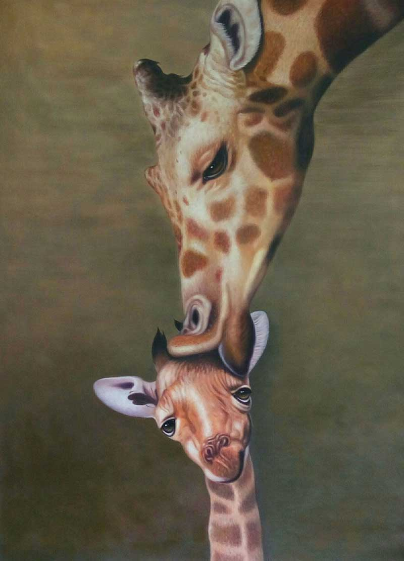 painting of two giraffes