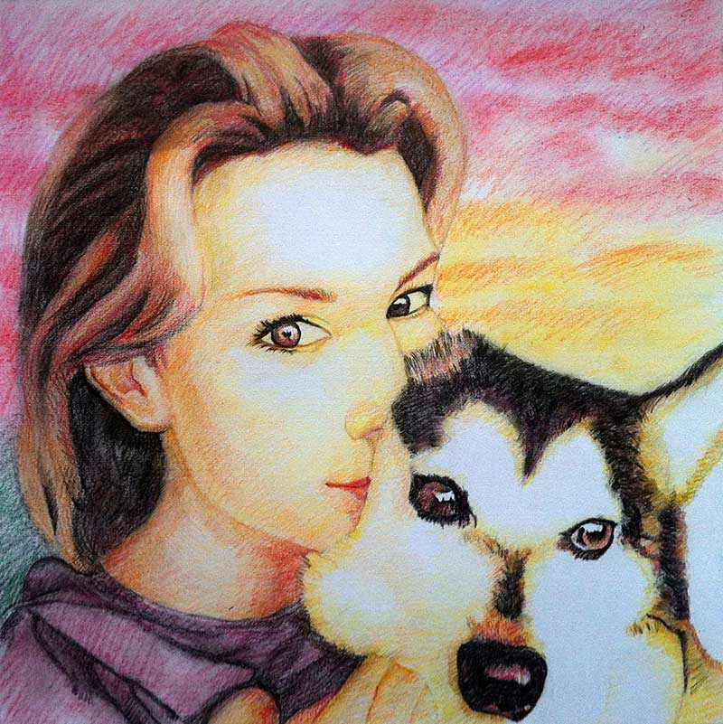 woman and dog portrait in color pencil