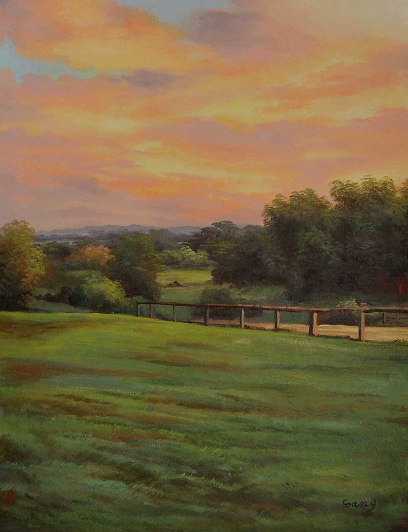 oil painting landscape country field