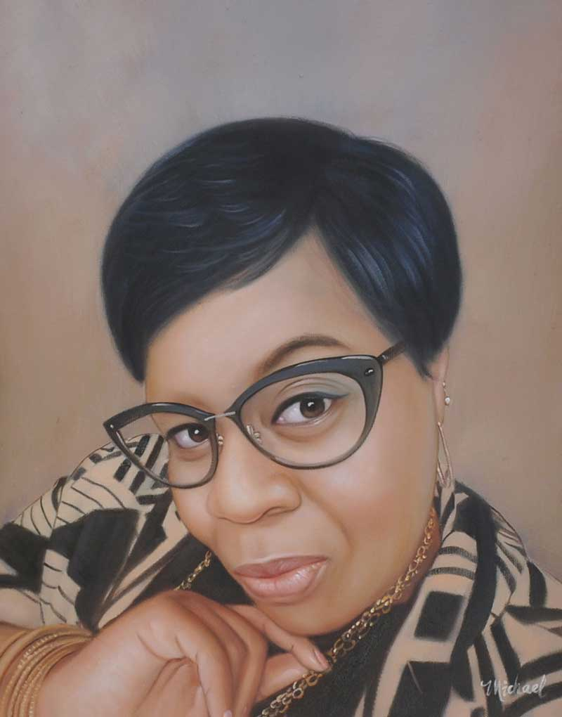 oil portrait of black woman with glasses