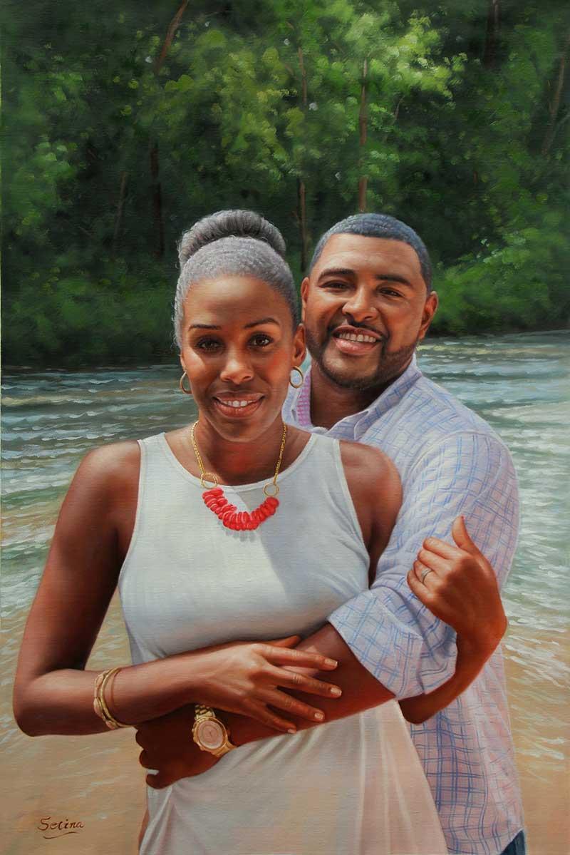 oil painting portrait colored couple happy