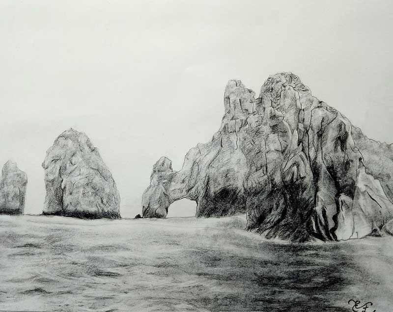 charcoal drawing of a sea hills rocks cliffs