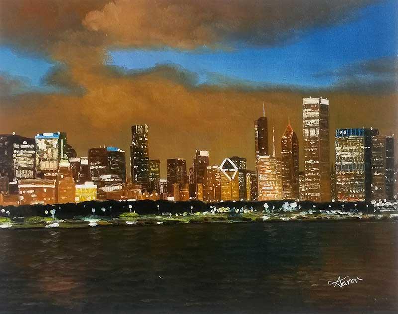 oil painting midnight city