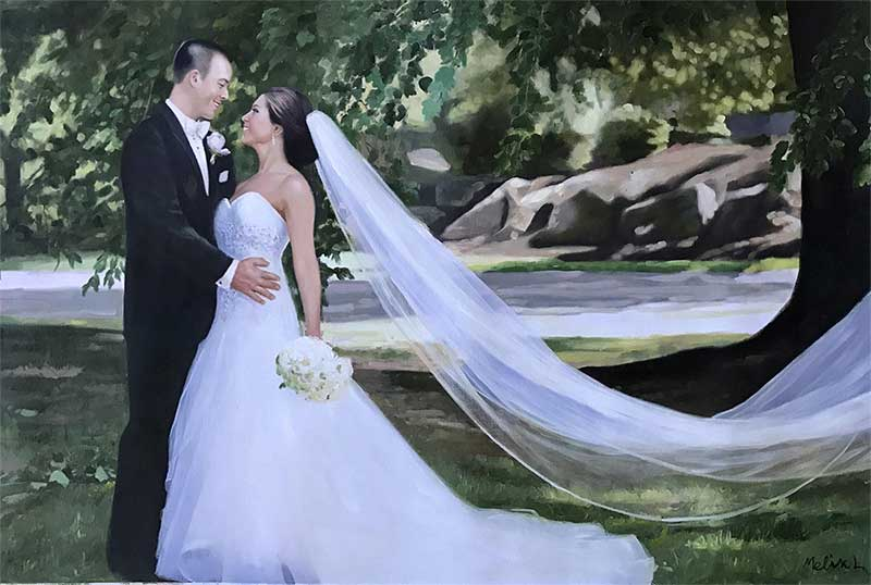 Oil painting of a wedding couple beautiful majestic stunning
