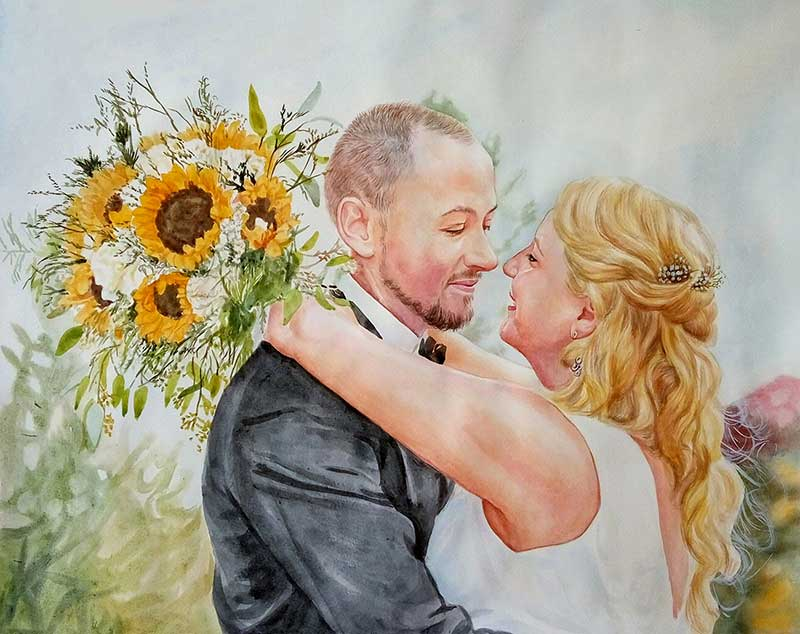 Romantic watercolor painting sunflower couple wedding