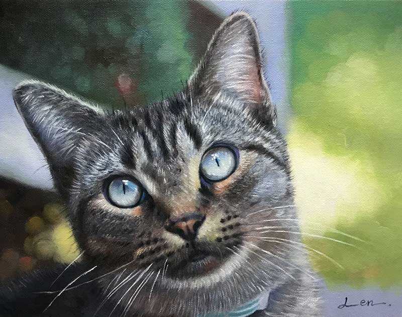 majestic oil painting portrait of a cat with stunning eyes