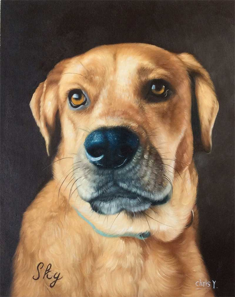 an acrylic painting of a brown dog