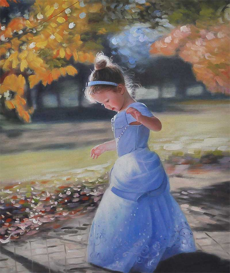an oil painting of a child dressed like a princess outdoors