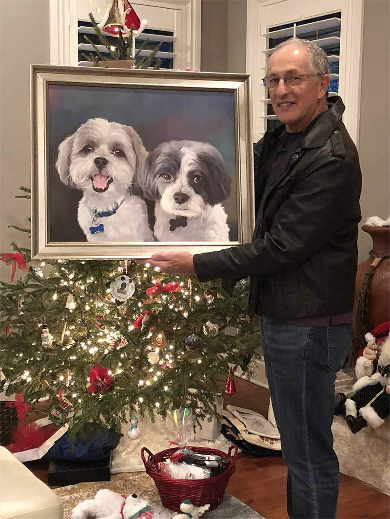 an oil painting of two dogs side by side