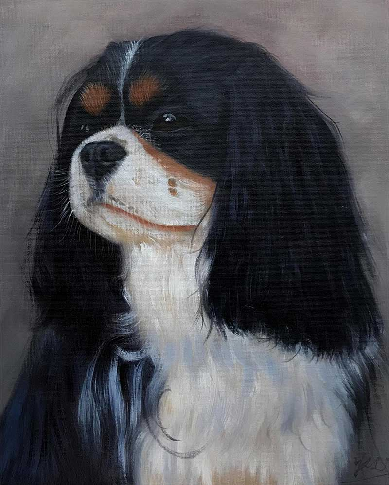 oil painting of tiny brown and white furry long ear dog
