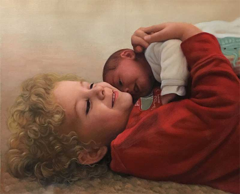 an oil painting of siblings hugging each other