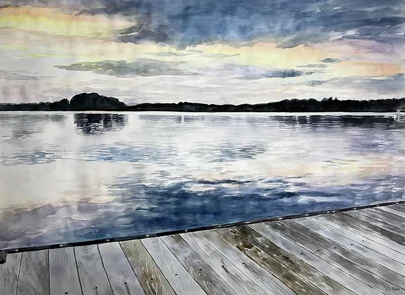 a watercolor painting of a beautiful beach landscape dusk noon