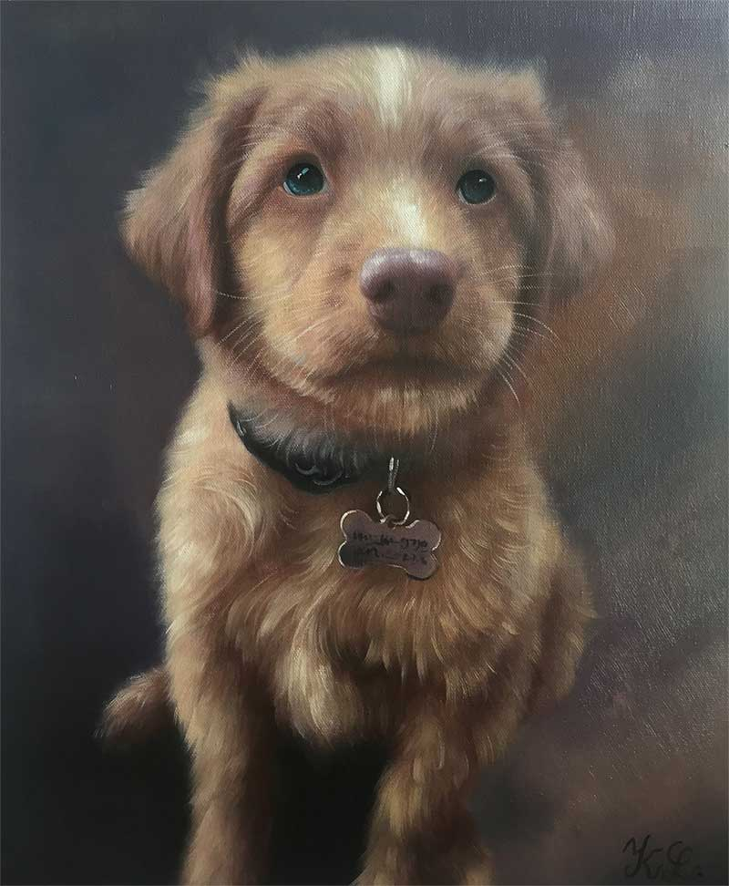 an oil painting of a tiny brown puppy