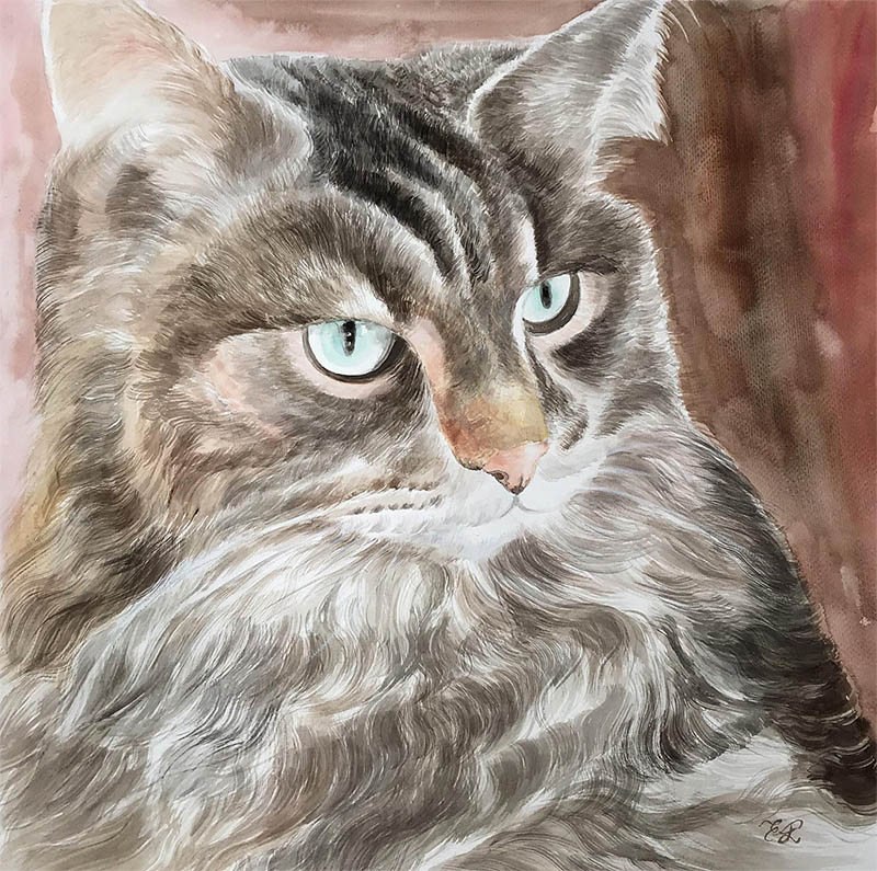 a watercolor painting of a cat