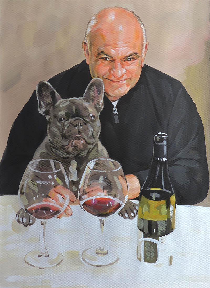 an oil painting of a man with his pug french british bulldog