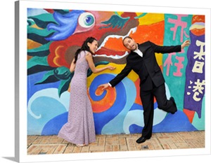 Canvas Pop Art Couple and Chinese Dragon