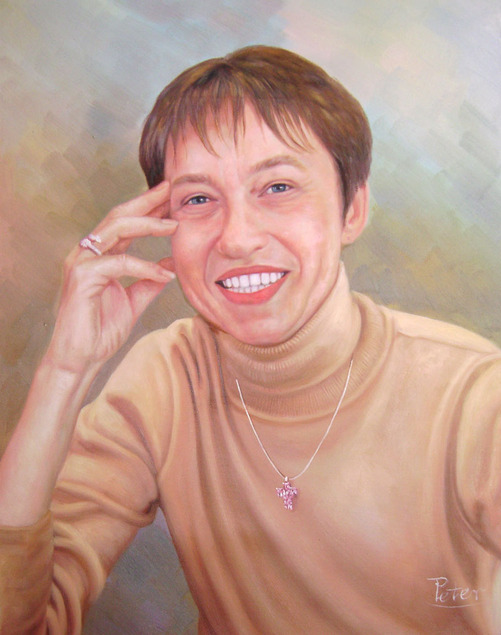 oil portrait of a smiling lady