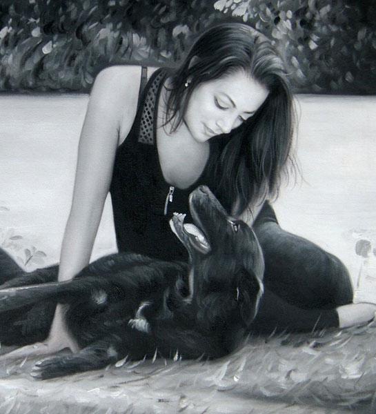 Ma soeur à perdue sa chienne il y a 2 semaines d`un cancer et je tenais a rendre hommage à leur amour et leur complicité par cette peinture qui reflète totalement cette relation fusionnelle qui existait entre elles. je suis vraiment impressionnée par la q