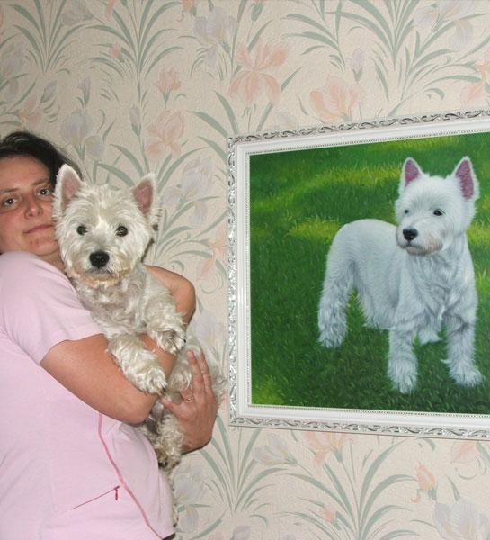 chien avec peinture à l'huile de propriétaire