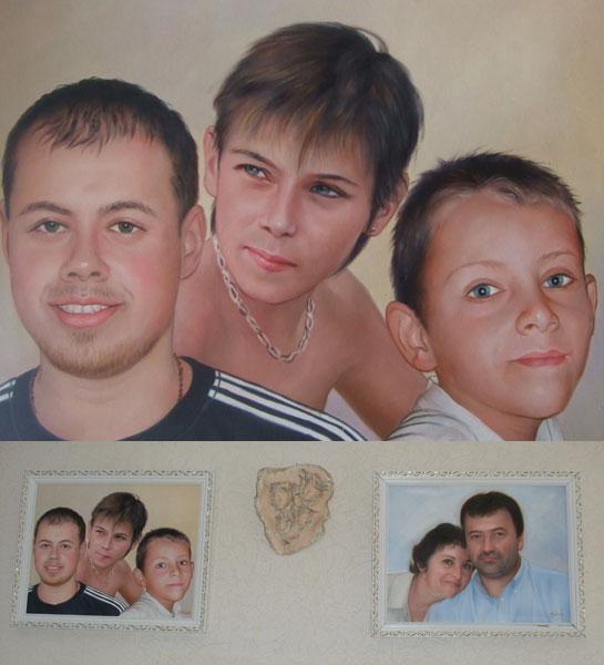 portrait de famille d'huile