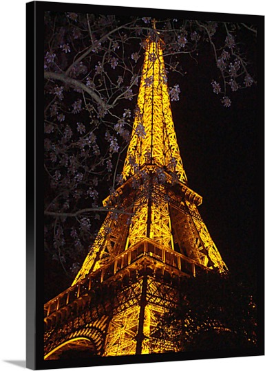 Lighted Eifel Tower Photo Printed on Canvas