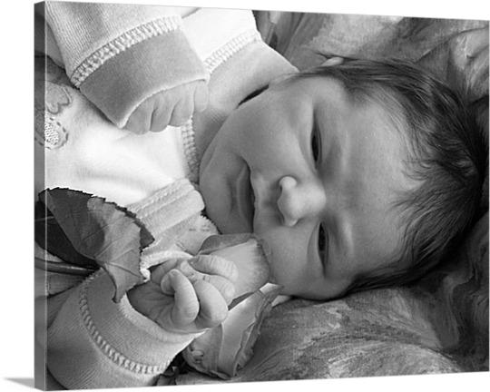 Photo en toile bébé noir et blanc