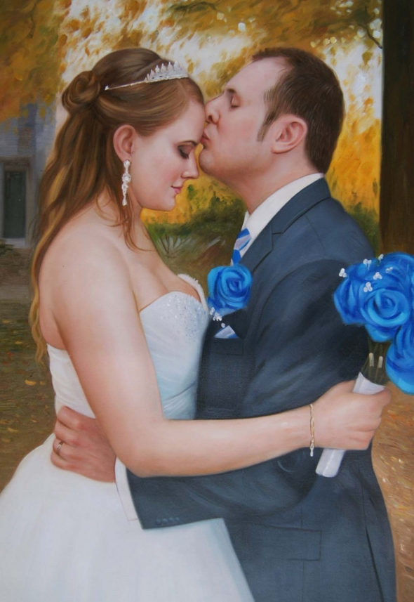 oil painting of wedding couple