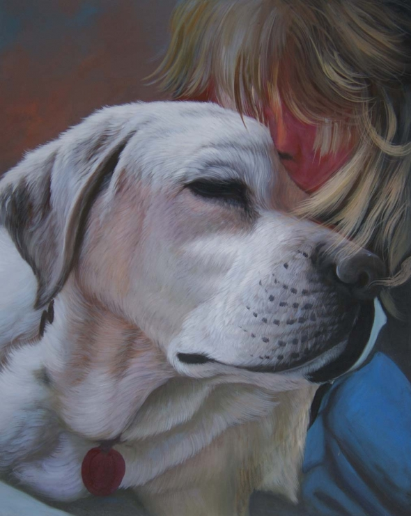 dog portrait in oil