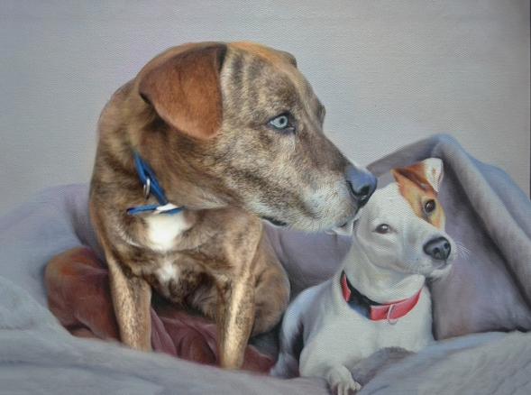 oil portrait of two dogs